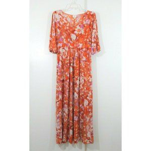 HOT IN HOLLYWOOD maxi dress short sleeve floral S